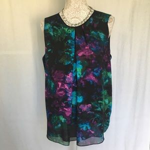 Ellen Tracy // Watercolor Floral Sleeveless Top L